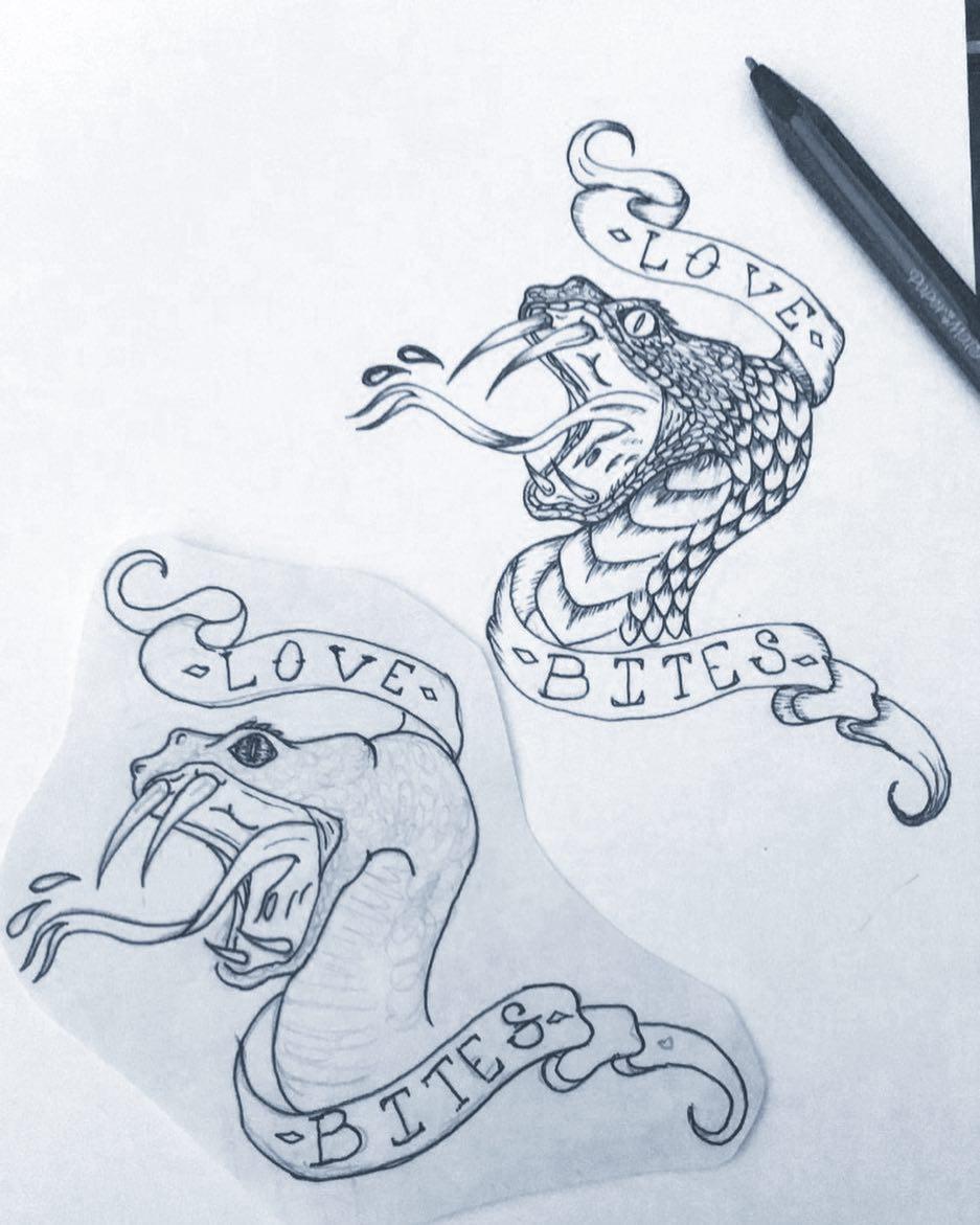 左先生眼镜蛇丝带纹身手稿