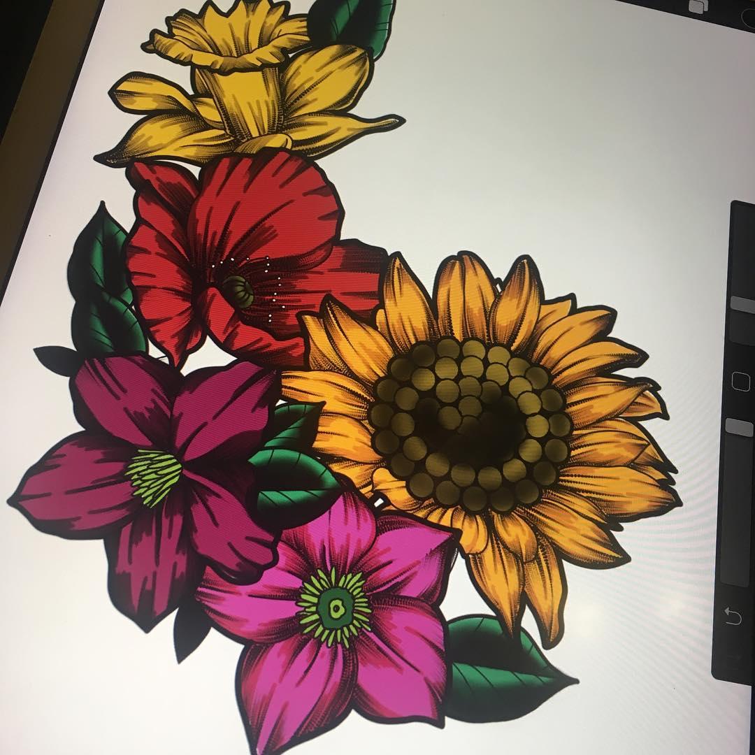 洪先生太阳花纹身手稿