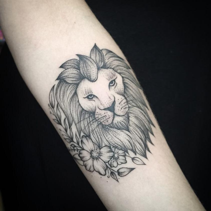 纹身作品                        窦小姐手臂几何图形百合花纹身图案图片